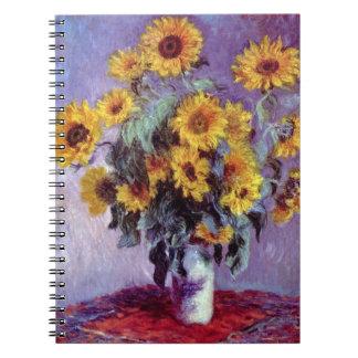 Bukett av solrosor vid Claude Monet, vintagekonst Anteckningsbok