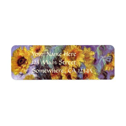 Bukett av solrosor vid Claude Monet, vintagekonst Returadress Etikett