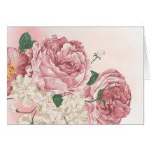 Bukett av vit och rosa ros hälsnings kort