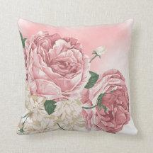 Bukett av vit och rosa ros prydnadskudde
