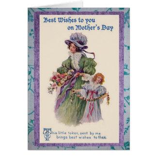 Bukett för vintagemors dagblomma hälsningskort
