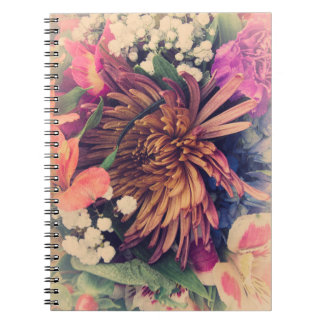 Bukett (kalla färger) anteckningsbok med spiral