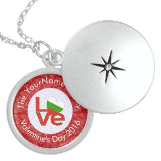 Bulgarisk KÄRLEKvit på rött Sterling Silver Halsband