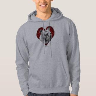 Bulldogg med hjärta hoodie