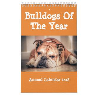 Bulldoggar av den årliga kalendern 2018 för år kalender