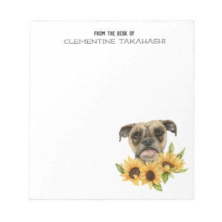 Bulldoggblandningen med solrosor | tillfogar ditt anteckningsblock