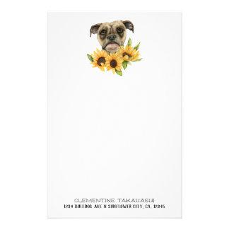 Bulldoggblandningen med solrosor | tillfogar ditt brevpapper