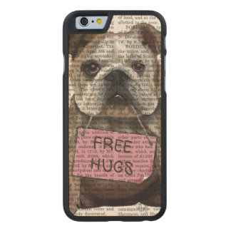 Bulldoggen frigör kramar carved lönn iPhone 6 slim skal