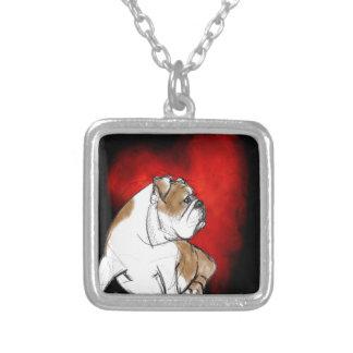Bulldoggkärlek Halsband Med Fyrkantigt Hängsmycke