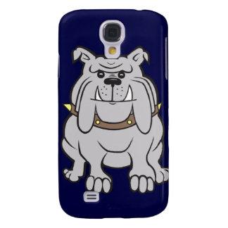 Bulldoggmaskot på blått galaxy s4 fodral