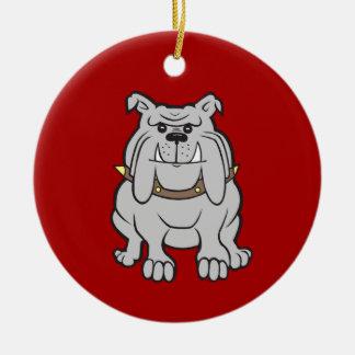 Bulldoggmaskot på röda hund älskaregåvor julgransprydnad keramik