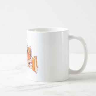 Bulldozer en kaffemugg