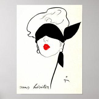 Bunden för ögonen på kvinna för vintage fransk aff print