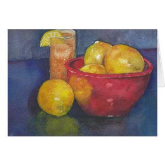 Bunke av tomt hälsningkort för citroner och för hälsningskort