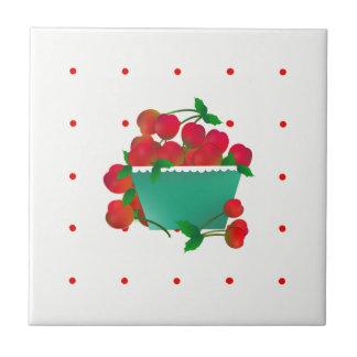 Bunken av keramiska körsbär belägger med tegel kakelplatta