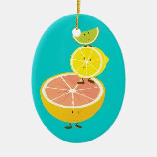 Bunt av att le citrusfrukt julgransprydnad keramik