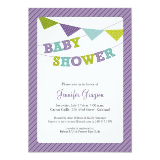 Bunting baby showerinbjudan för baby i lilor 12,7 x 17,8 cm inbjudningskort