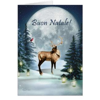 Buon Natale - italienskt kort för julvinterhjort