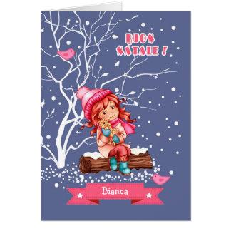 Buon Natale. Julhälsningkort i italienare Hälsningskort