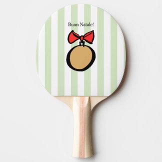 Buon Natale paddlar den guld- prydnadpingen Pong Pingisracket