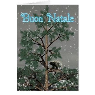 Buon Natale - Porcupine i ett grästräd Hälsningskort