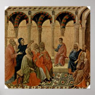 Buoninsegna - tolv åriga Jesus i tempel Poster