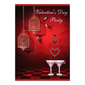 Burar för valentinpartyfåglar, hjärtor & rosa 12,7 x 17,8 cm inbjudningskort