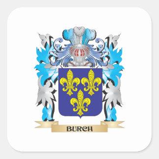 Burch vapensköld fyrkantigt klistermärke