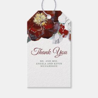 Burgundy blommar den röda vattenfärgen bröllop presentetikett