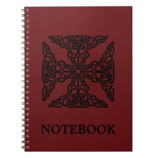 Burgundy för beställnings- färg Celtic fnurror/arg Anteckningsbok Med Spiral