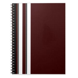 Burgundy/grått- & vitrandanteckningsbok anteckningsbok med spiral