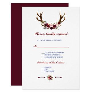 Burgundy Marsala blom- horn på kronhjortbröllop 8,9 X 12,7 Cm Inbjudningskort