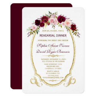 Burgundy Marsala blom- nedgångrepetition middag 11,4 X 15,9 Cm Inbjudningskort