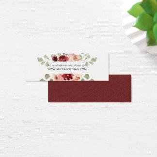 Burgundy och blom- bröllopWebsite för grönska Litet Visitkort