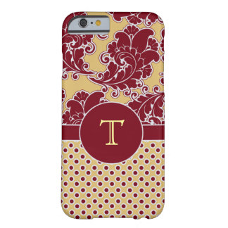 Burgundy och gulddamastMonogram Barely There iPhone 6 Skal
