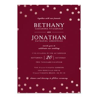 Burgundy och rosa guld- glitterbröllopinbjudan 12,7 x 17,8 cm inbjudningskort