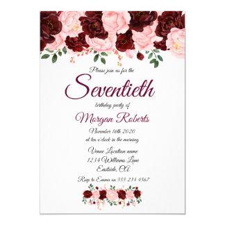 Burgundy rosa rosa blom- sjuttionde 70th 12,7 x 17,8 cm inbjudningskort