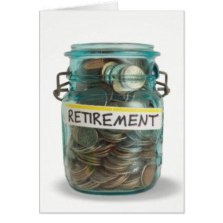 burk av mynt för den gratulerara pensionen hälsningskort