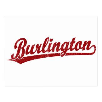 Burlington skrivar logotypen i rött vykort