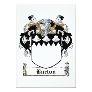 Burton familjvapensköld 12,7 x 17,8 cm inbjudningskort