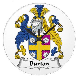 Burton familjvapensköld stor rund klocka