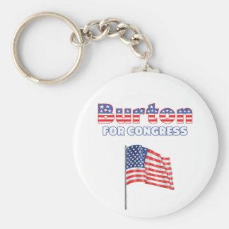 Burton för patriotisk amerikanska flaggan för kong rund nyckelring