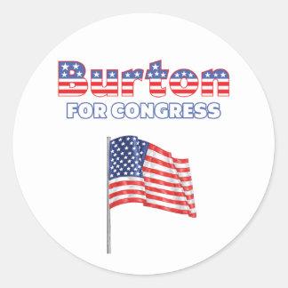 Burton för patriotisk amerikanska flaggan för runt klistermärke