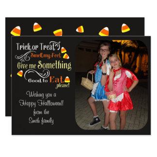 Bus eller godis skämtsamt Halloween fotokort 12,7 X 17,8 Cm Inbjudningskort