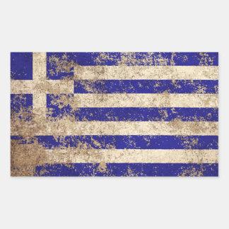 Buse åldras grekisk flagga för vintage rektangulärt klistermärke