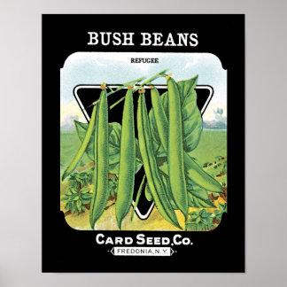 Bush bönor kärnar ur paketetiketten poster