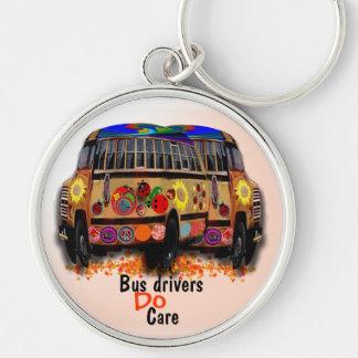 Bussförare att bry sig rund silverfärgad nyckelring