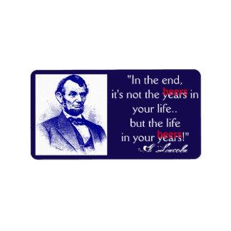 Buteljera märkande Lincoln 4th av brygden för det Adressetikett