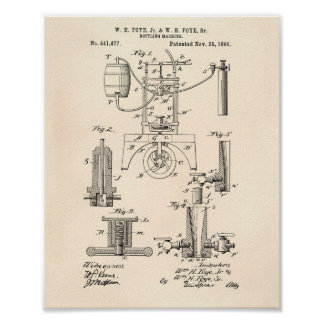 Buteljera patenterad konst för maskin 1890 - poster