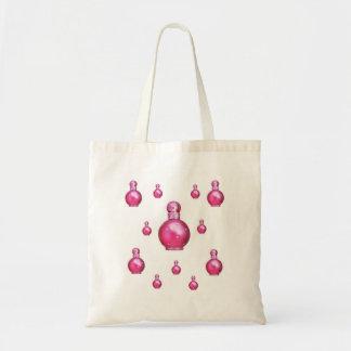 Buteljerar rosa purfume för den budget- budget tygkasse
